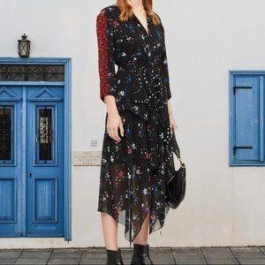 NWT MAJE Remix Quarter Sleeve black Floral Dress V
